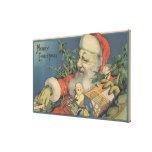 Navidad GreetingSanta con los regalos Lona Estirada Galerias