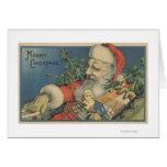 Navidad GreetingSanta con los regalos Tarjetón