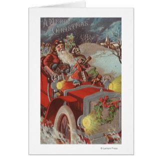 Navidad GreetingSanta en coche Tarjeta De Felicitación