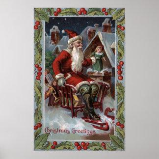 Navidad GreetingSanta en trineo Póster