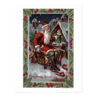 Navidad GreetingSanta en trineo Tarjeta Postal