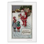 Navidad GreetingSanta que habla con los niños Tarjeta De Felicitación