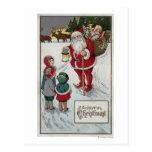 Navidad GreetingSanta que habla con los niños Tarjeta Postal