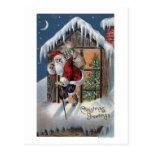 Navidad GreetingSanta que sube hacia fuera la Postal