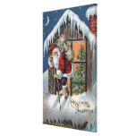 Navidad GreetingSanta que sube hacia fuera la vent Lienzo Envuelto Para Galerias