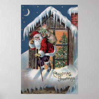 Navidad GreetingSanta que sube hacia fuera la vent Póster