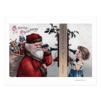 Navidad GreetingSanta y teléfono Postal