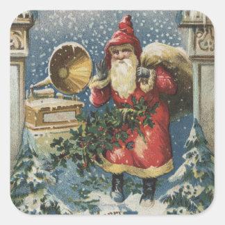 Navidad GreetingSanta y tocadiscos Pegatina Cuadrada