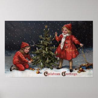 Navidad GreetingsKids que adorna un árbol Póster