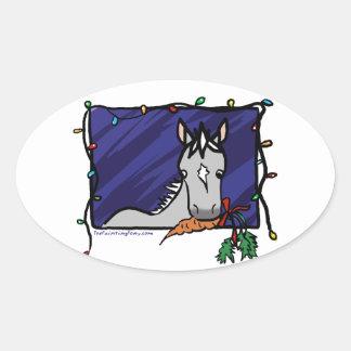 Navidad gris lindo del potro pegatinas de oval