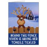 Navidad grosero del reno tarjetón