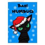 Navidad gruñón del embaucamiento de Bah del gato Tarjeta De Felicitación