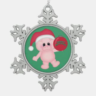 Navidad guarro adorno de peltre en forma de copo de nieve