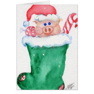 Navidad guarro en una tarjeta de la media