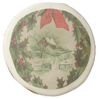 Navidad guirnalda del vintage y cabina del
