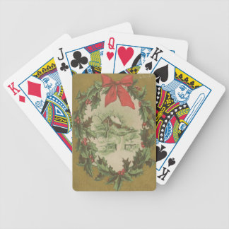 Navidad guirnalda del vintage y cabina del inviern barajas de cartas