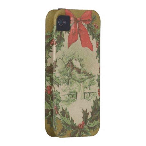 Navidad guirnalda del vintage y cabina del inviern iPhone 4 carcasas