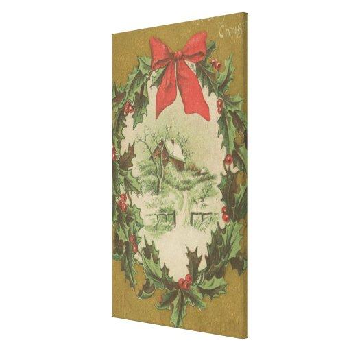 Navidad guirnalda del vintage y cabina del inviern impresión en lienzo estirada
