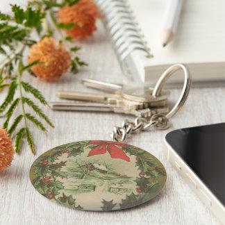 Navidad guirnalda del vintage y cabina del inviern llavero