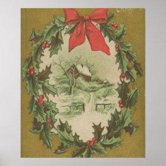 Navidad guirnalda del vintage y cabina del inviern póster