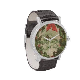 Navidad guirnalda del vintage y cabina del inviern reloj de mano