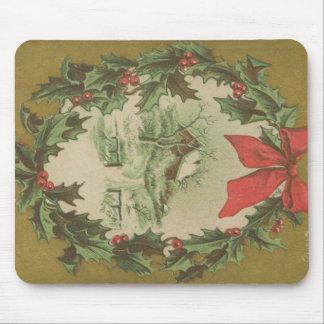 Navidad guirnalda del vintage y cabina del inviern tapete de ratones