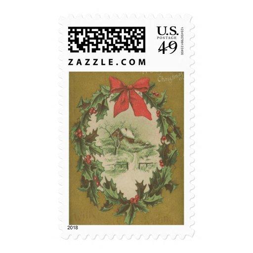 Navidad guirnalda del vintage y cabina del sellos