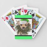 Navidad guirnalda y gorra de la chihuahua barajas de cartas