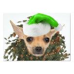 Navidad guirnalda y gorra de la chihuahua invitación 12,7 x 17,8 cm