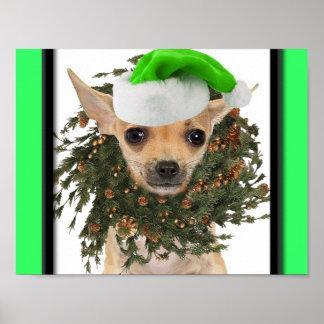 Navidad guirnalda y gorra de la chihuahua poster