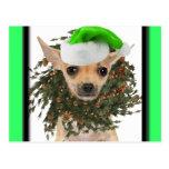 Navidad guirnalda y gorra de la chihuahua postales