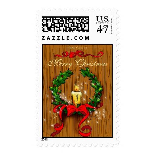 Navidad guirnalda y sello de la vela