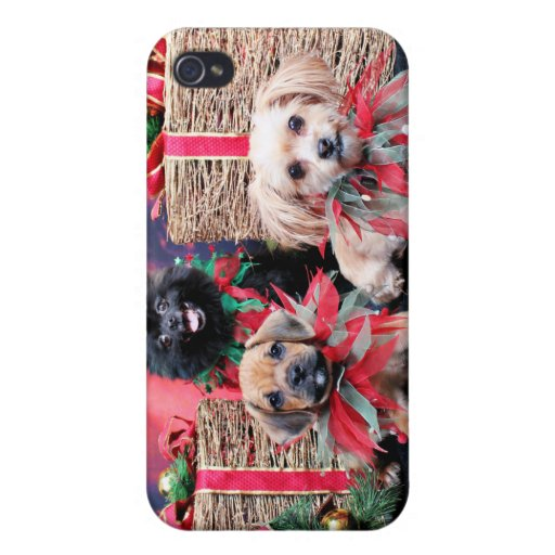 Navidad - Gus de Puggle - Shorkie Charlie Pom Mazi iPhone 4 Protectores