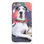 Navidad - Harlequin great dane - barón Funda De iPhone 6 Barely There