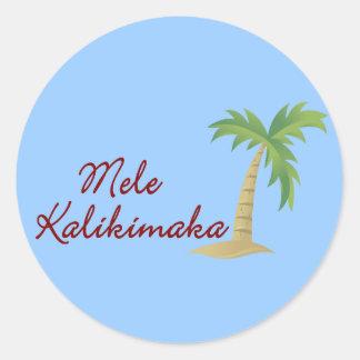 Navidad hawaiano 2 de la palmera pegatina redonda