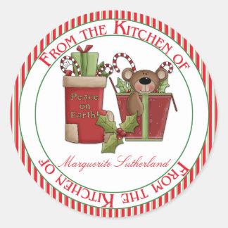 Navidad hecho en casa verde rojo de la cocina de etiquetas redondas