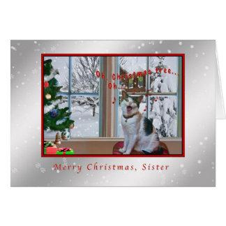 Navidad, hermana, gato del canto, nieve tarjeta de felicitación