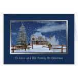 Navidad, hermana y familia, escena del invierno Ne Tarjeton
