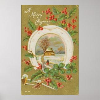Navidad herradura y acebo del vintage impresiones
