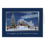 Navidad, hija y familia, escena del invierno Nevad Felicitaciones