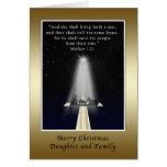 Navidad, hija y familia, religiosas tarjeta