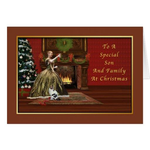 Navidad, hijo y familia, pasados de moda felicitaciones