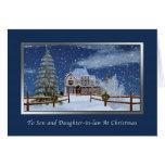 Navidad, hijo y nuera, escena del invierno felicitaciones