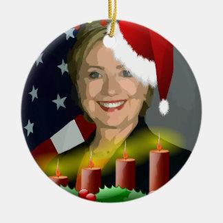 navidad hillary Clinton Adorno Navideño Redondo De Cerámica