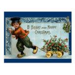 Navidad holandés del vintage del muchacho postal