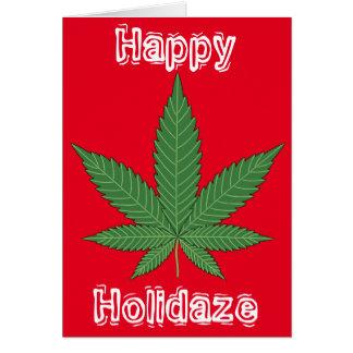Navidad Holidaze feliz de la hoja de la mala Tarjeta De Felicitación
