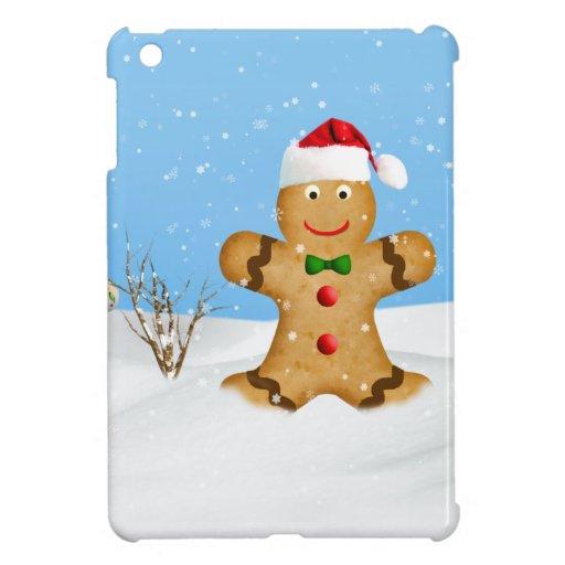 Navidad, hombre de pan de jengibre feliz en nieve iPad mini coberturas