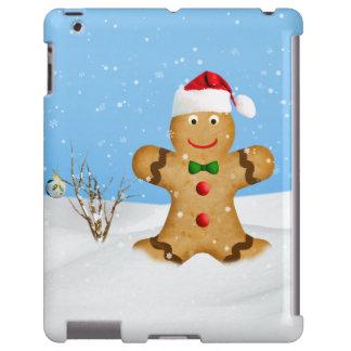 Navidad, hombre de pan de jengibre feliz en nieve funda para iPad