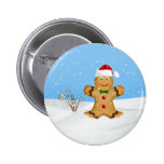 Navidad, hombre de pan de jengibre feliz en nieve pins