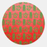 Navidad Honu y Tiki Etiquetas Redondas